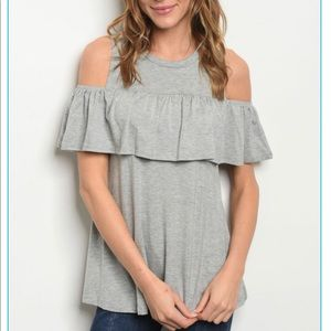 Tops - ⚪️⚪️Gorgeous Gray Ruffle Top